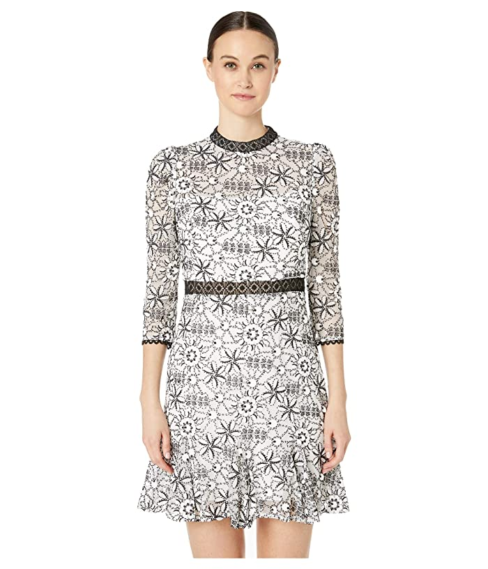 ML Monique Lhuillier Long Sleeves Short Dress with Ruffle Detailing (White Jet Combo) Women