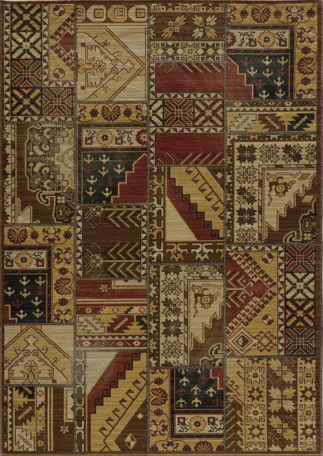 Momeni Rugs VINTAVIN8TRG1828 Vintage Collection, 100% New Zealand Wool Power Loomed Flatweave Transitional Area Rug, 1'8  x 2'8 , Tribal gold
