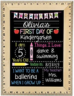 First Day of School Chalkboard, Easy to Clean Reusable Sign with Wooden Ruler Frame, Pink Crayon