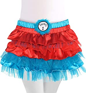 Costumes USA Dr. Seuss Thing 1 & Thing 2 Tutu for Girls, Halloween Costume Accessories, Small, Includes 2 Patches