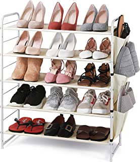 Simple Trending 5-Tier Stackable and Expandable Shoe Rack with Side 6 Shoes Pockets, White
