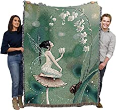 Pure Country Weavers Lily of The Valley Fairy Blanket and Woven Large Soft Comforting with Artistic Textured Design 72x54 Cotton USA