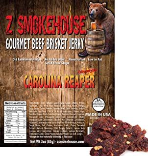 Carolina Reaper Beef Jerky - XXX Hot - Hottest Pepper in the World - Gourmet Handcrafted 100% Solid Beef Steak - Made in USA