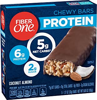 Fiber One Protein Bar, Coconut Almond Chewy Bars, 5 Count Fiber Bars,Pack of 6