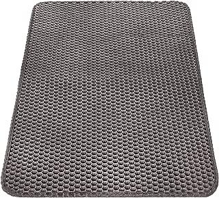 """Cat Litter Mat Litter Trapping Mat 25""""×16"""",  Honeycomb Double Layer Waterproof Urine Proof Premium Litter Box Mat,  Easy Clean Scatter Control Kitty Litter Mat Trapper,  Gray"""