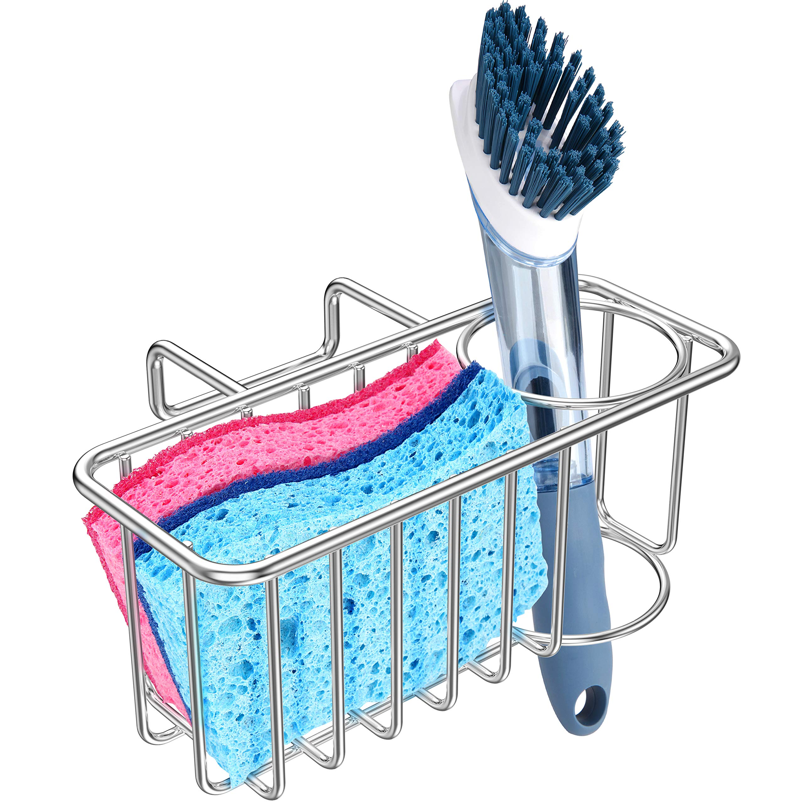 Kitchen Sponge Holder - Sink Brush Caddy Soap Dishwashing Liquid Drainer Rack, SUS304 Stainless Steel - Silver