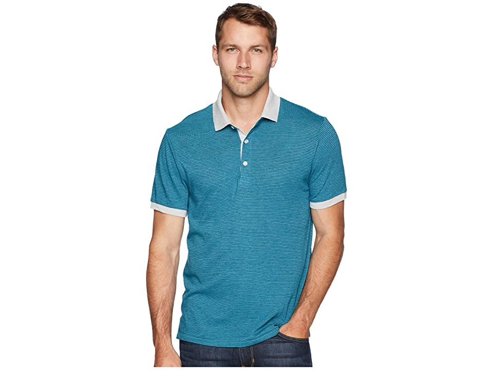 Alternative Eco Striped Polo (Ocean Teal Overdye Seaside Stripe) Men