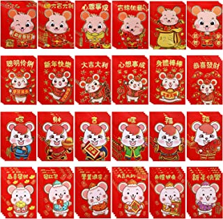 96 Pieces 2020 Chinese New Year Red Envelopes Chinese Rat Year Red Packets Cute Rat Hong Bao Lucky Money Packets for Chinese New Year Wedding