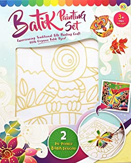 Malaysian Batik Organic Colors Painting 2-in-1 Kit (Parrot, Elephant) - Art Craft Painting Activity Kit Set for Adults and...