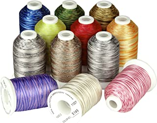 Simthread Embroidery Machine Thread Variegated Colors Rainbow Multi Colors for Embroidery and Sewing Machines S139-150 100...