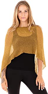 Womens Sheer Poncho Shrug Cover Up Lightweight Knit One Size Fits Most