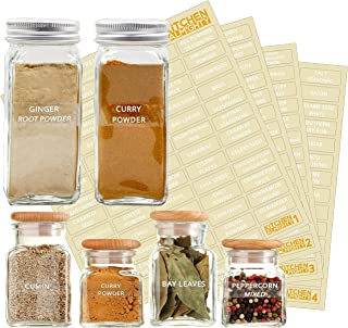 271 Labels: 242 Spice/Herb Names + 29 Blank Labels | Upgraded Thicker Labels & Backing Paper| Alphabetized Spice Label Sys...