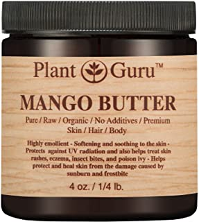 Raw Mango Butter 4 oz 100% Pure Natural Cold Pressed. Skin Body and Hair Moisturizer, DIY Creams, Balms, Lotions, Soaps.