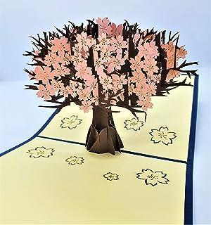 BC Worldwide Ltd carta pop-up 3D fatta a mano rosa sakura cherry blossom happy birthday card, anniversario di matrimonio, ...