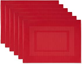 DII Everyday, Easy to Clean Indoor/Outdoor Woven Vinyl Double Border Placemats, 13x18, Tango Red - Set of 6