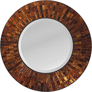 Lulu Decor, Baltic Amber Mosaic Wall Mirror, Round Decorative Mirror for Living Room & Office Space (LP72M)