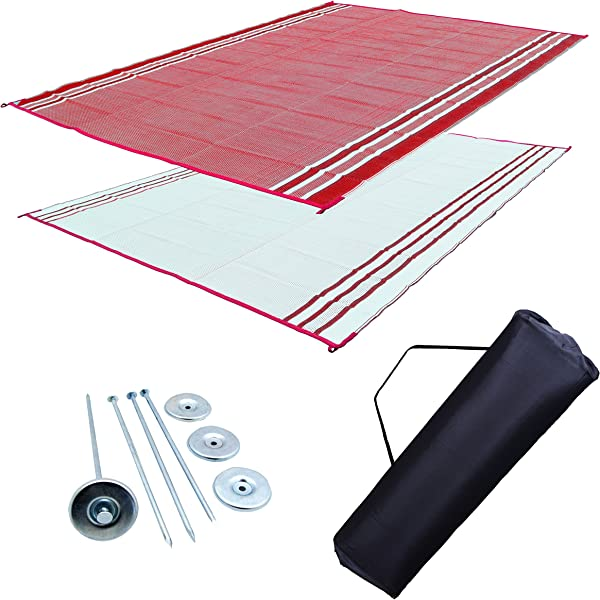 Professional EZ Travel Collection RV Patio Mat 9x18 Burgundy Sunset Extra Wide RV Mat