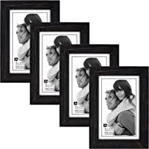 Malden International Designs Linear Rough Picture Frame, 4x6, Black, 4 Pack