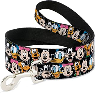 Dog Leash Classic Disney Character Faces Black 6 Feet Long 1.0 Inch Wide