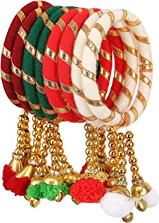 Sukriti Indian Party Wedding wear Multi Color Pom-Pom Thread Bangle Combo for Girls & Women - Set of 8 (Color Available)