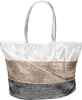 Silver Metallic Woven Polyester 21 x 14 inch Tote Bag