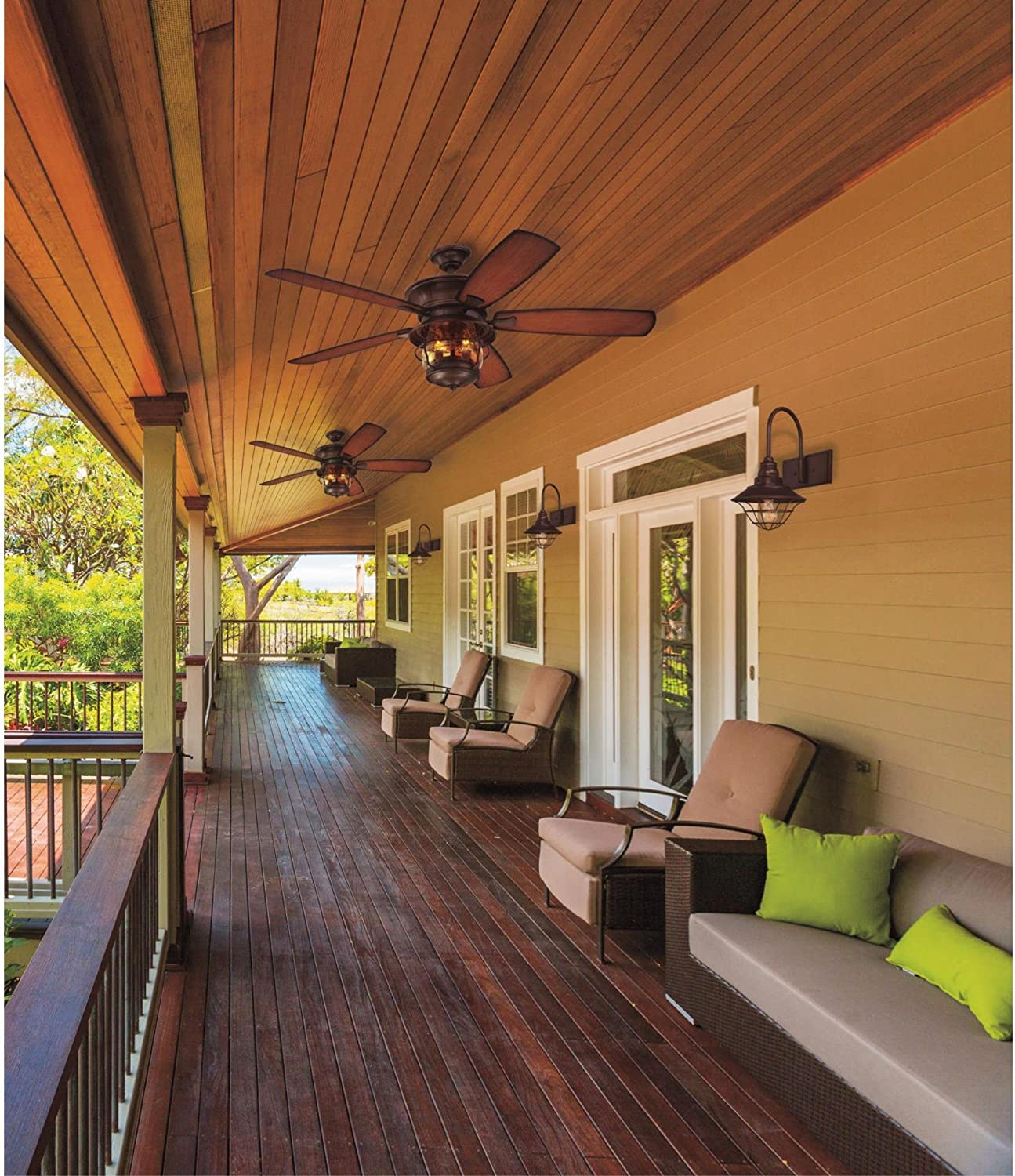 7800000 Brentford Indoor Outdoor 52 Inch Five Blade Reversible Ceiling Fan Aged Walnut With Clear Seeded Glass Ceiling Fans Amazon Canada