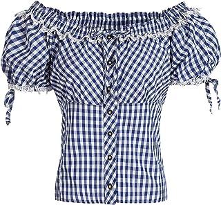 Gaudi-Leathers Damen Trachtenbluse im Carmenstil in rot oder blau weiß kariert, Größe 34-46 der Marke
