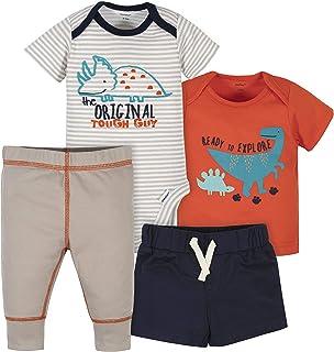 Gerber Baby Boys' 4-Piece Shirt, Bodysuit, Short and Pant, Grey Dinosaurs, Newborn