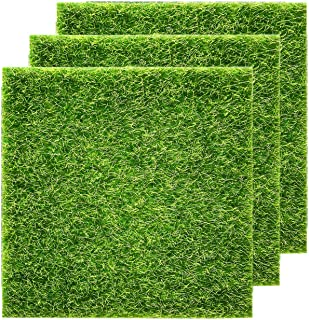KisSealed Artificial Garden Grass, Life-Like Fairy Artificial Grass Lawn 12 x 12 Inches Miniature Ornament Garden Dollhouse DIY Grass (12 x 12 Inches 3 Packs)