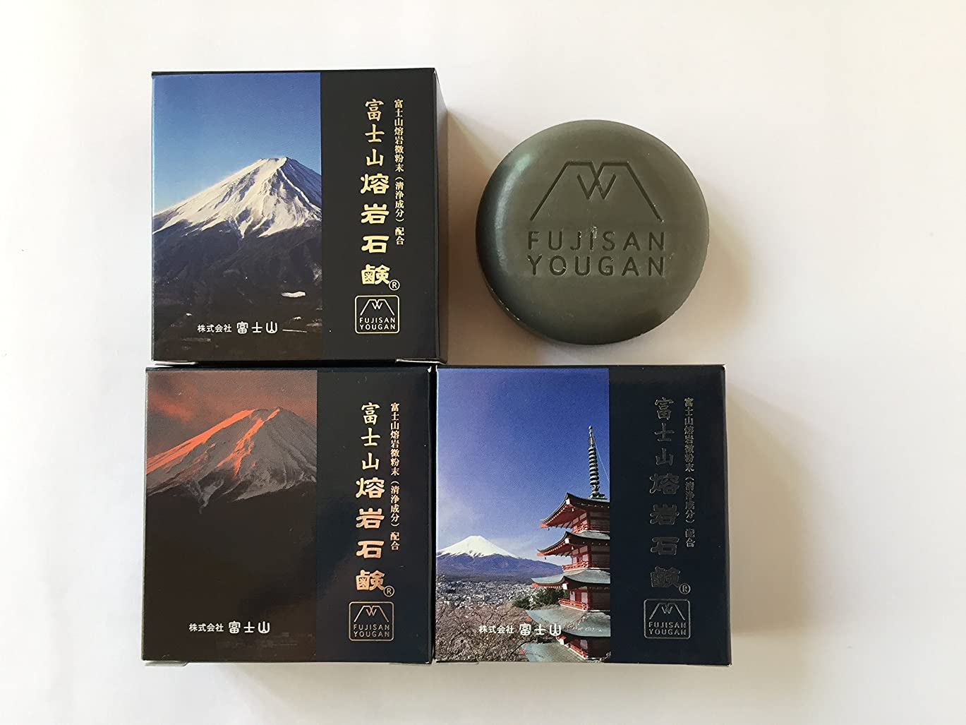 悩む機構減衰富士山溶岩石鹸 50g/個×3個セット(富士山写真化粧箱)
