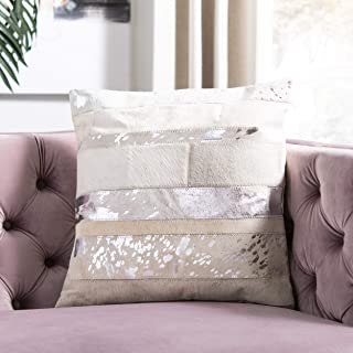 Safavieh Pillow Collection Cowhide 14 by 20-inch Silver Set of 2