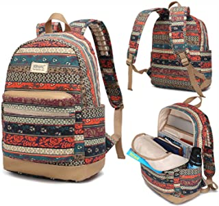 Kinmac New Bohemian Waterproof Laptop Backpack with Massage Cushion Straps and USB Charging Port for Laptop Up to 15.6 Inch Men Women Student Travel Outdoor Backpack