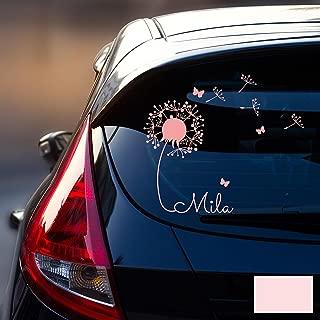 ilka parey wandtattoo-welt® Autotattoo Heckscheibenaufkleber Fahrzeug Aufkleber Sticker Baby Name Pusteblume M1864 - ausgewählte Farbe: *Hellrosa* ausgewählte Größe: *M - 28cm breit x 25cm hoch*