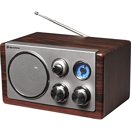 Roadstar HRA-1245WD Radio analogique portable en boisFM, MW, 1voie, AA, courant alternatif, batterie CC