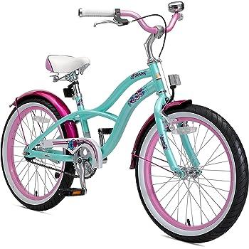 BIKESTAR Bicicleta para niños con sidestand y Accesorios para niños de 6 años | 20 Pulgadas Cruiser Edition | Menta y Rosa: Amazon.es: Juguetes y juegos