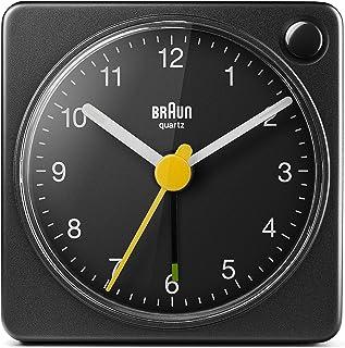 Braun, klassisk analog reseväckarklocka med lummerfunktion och ljus, kompakt storlek, tyst kvartsurverk, crescendo-larm, s...