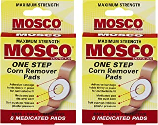 Mosco One-Step Medicated Corn Remover Pads | Maximum Strength | 8-Count per Pack | 2-Pack