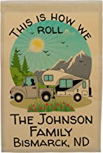 Happy Camper World This is How We Roll Personalized Truck and 5th Wheel Campsite Flag, Camping Sign, Tan (Silver)