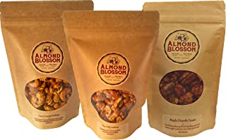 Almond Blossom - Savory Sweet Nuts Variety 3-Pack - Curry Coconut Cashews, Thai Chili Lime Cashews, Maple Chipotle Pecans - 4 Ounce Bags