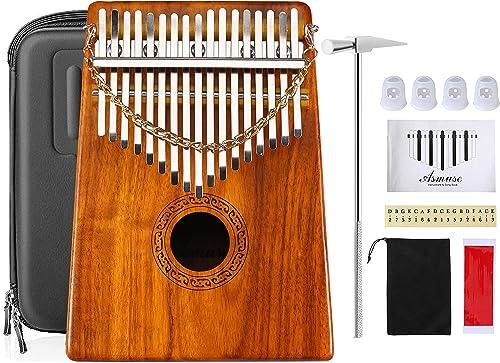 Asmuse Kalimba Thumb Piano17 Teclas Mbira Madera Maciza Finger Piano Sanza Thumb Instrumento con Caja Protección EVA ...