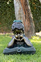 Alpine Corporation Girl Laying Down Reading Book Statue Set - Outdoor Decor for Garden, Patio, Deck, Porch - Yard Art Decoration