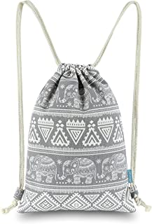 Miomao Drawstring Backpack Elephant String Bag Geometric Gym Sackpack Canvas Sinch Sack Sport Cinch Bag Yoga Daypack Beach...