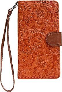 Galaxy S7 edge SC-02H ケース 手帳型 PUレザースタンド機能 カードポケット2個 財布ポケット 型押し 花柄 レッド オレンジ 赤橙