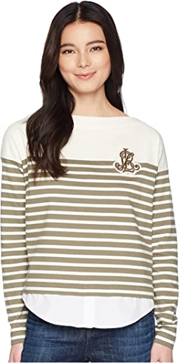 Petite Striped Layered Cotton Sweater
