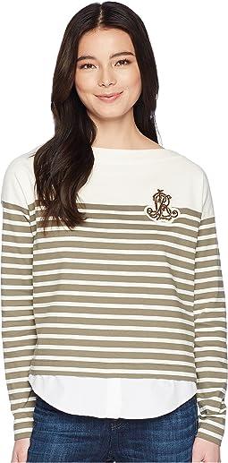Petite Striped Layered Cotton Sweater