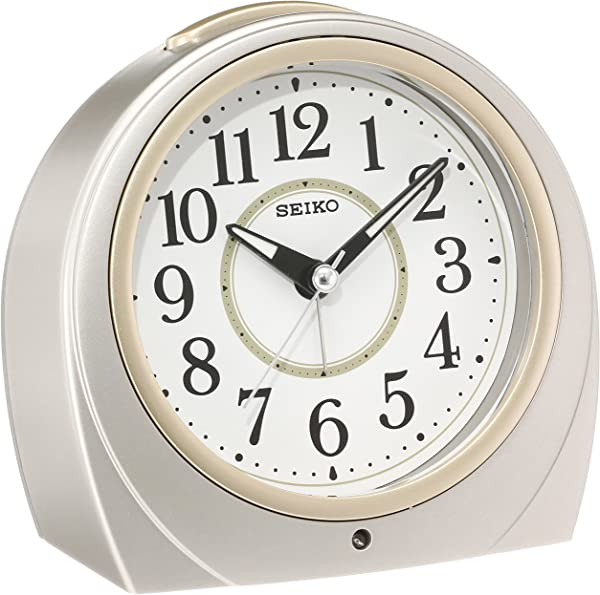 SEIKO CLOCK Seiko Clock Automatic Lights Alarm Clock Silver Round KR888S By Seiko Watches