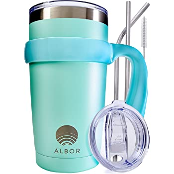 ALBOR Triple Insulated Stainless Steel Tumbler 20 oz Seafoam Coffee Travel Mug With Handle