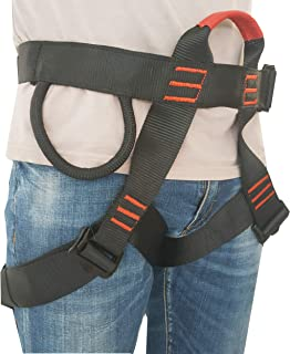 Rock Climbing Harness - Protect Waist Safety Harness, Wider Half Body Harness for Mountaineering, Tree Climbing, Outdoor Activities, Training – Premium Quality Durable Material- – Slotted Buckles