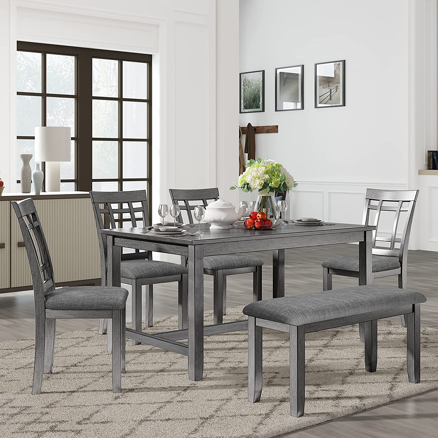 Merax Dining Max 87% OFF Table Excellent Sets 6-Piece Wood Kitchen