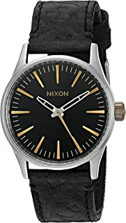 Nixon Men's A3772222-00 Sentry 38 Leather Analog Display Japanese Quartz Black Watch